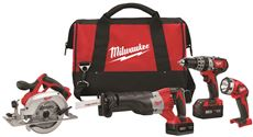 MILWAUKEE M18� CORDLESS LITHIUM-ION 4-TOOL KIT (COMPACT HAMMER DRILL/ SAWZALL�/CIRCULAR SAW WITH WORK LIGHT WITH BATTERIES