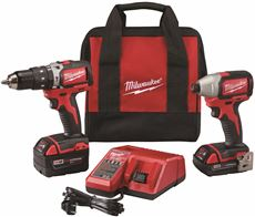MILWAUKEE� M18� LITHIUM-ION CORDLESS COMPACT BRUSHLESS HAMMER DRILL & IMPACT DRIVER COMBO KIT