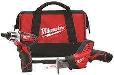 MILWAUKEE M12� CORDLESS 12 VOLT LITHIUM-ION 2 TOOL COMBO KIT WITH TWO BATTERIES, CHARGER AND CASE