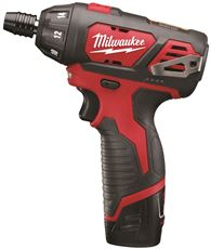 MILWAUKEE M12� CORDLESS 12 VOLT LITHIUM-ION SCREWDRIVER WITH TWO BATTERIES, CHARGER AND CASE