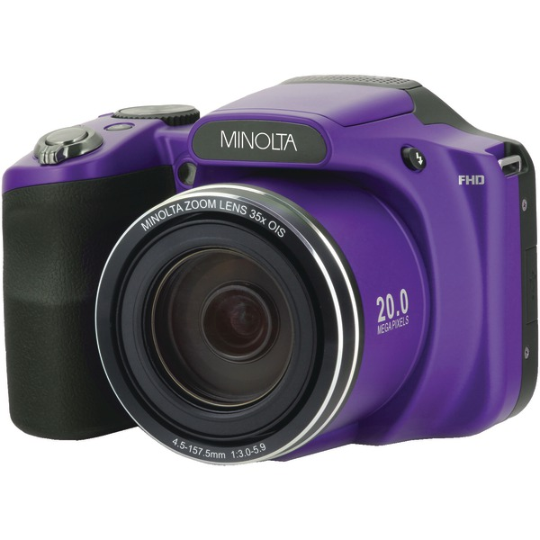 Minolta MN35Z-P 20.0-Megapixel 1080p Full HD Wi-Fi MN35Z Bridge Camera with 35x Zoom (Purple)