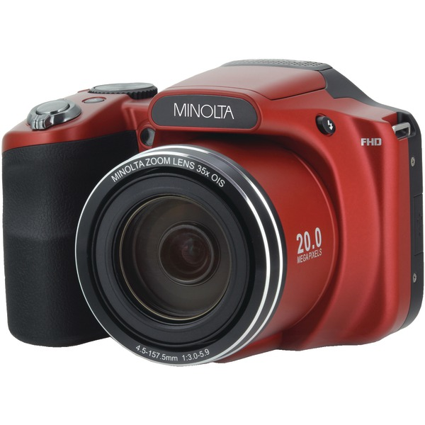 Minolta MN35Z-R 20.0-Megapixel 1080p Full HD Wi-Fi MN35Z Bridge Camera with 35x Zoom (Red)