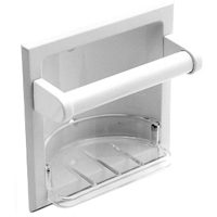 MintCraft L770H-51-07 Recessed Soap Dish With Grab Bar, 6-1/8 in L x 3-3/16 in W x 6-1/8 in H, Elegant White Coated