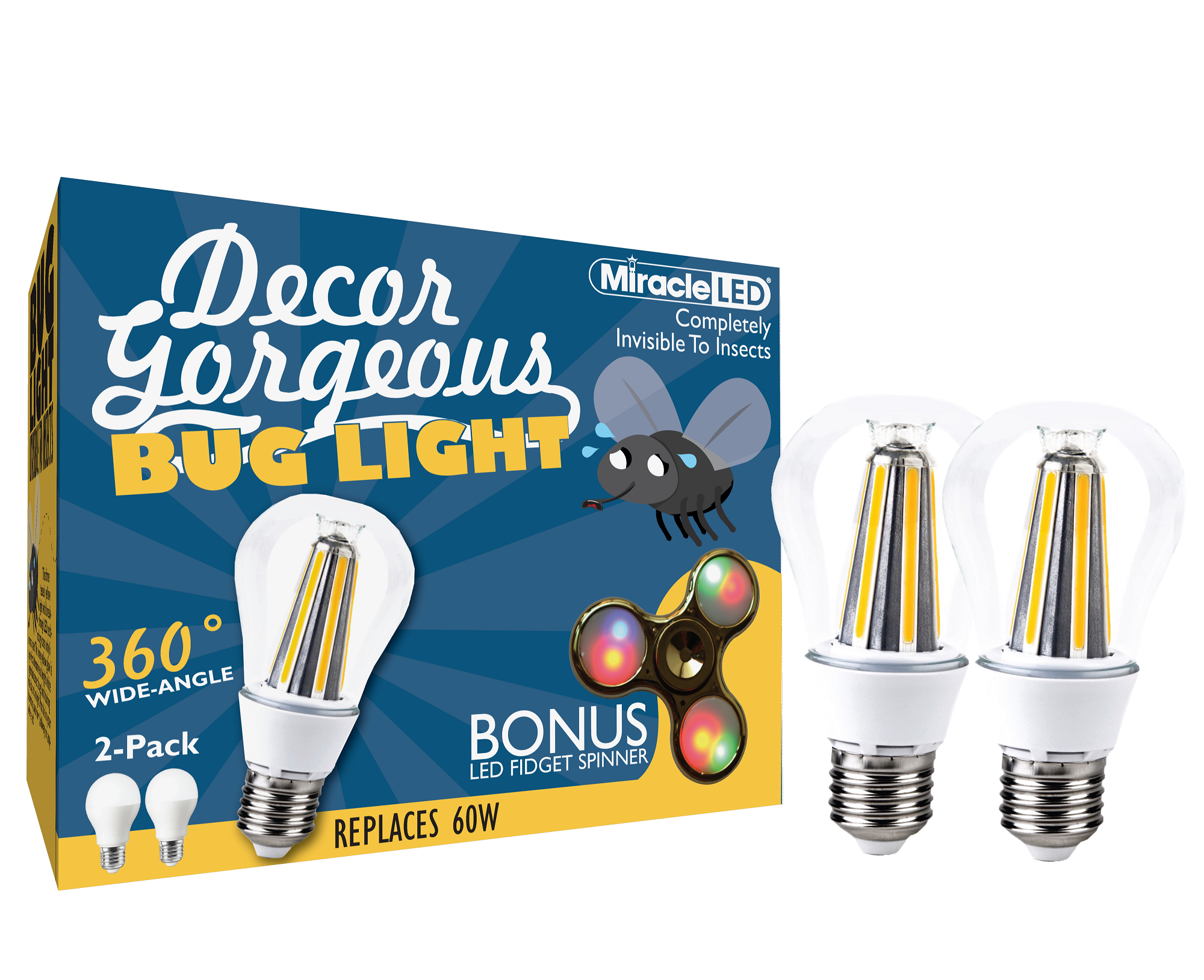 MIRACLE LED 604375 DECOR GORGEOUS OMNI LED BUG LIGHT 2PK