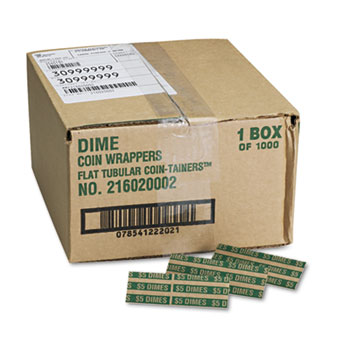 Flat Coin Wrappers, Dimes, $5, 1000 Wrappers/Box