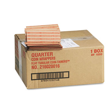 Flat Coin Wrappers, Quarters, $10, 1000 Wrappers/Box