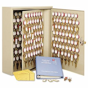 Dupli-Key Two-Tag Cabinet, 60-Key, Welded Steel, Sand, 14 x 3 1/8 x 17 1/2
