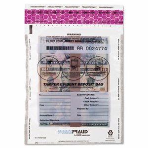 FREEZFraud Tamper-Evident Deposit Bags, 9 x 12, Clear, 100/Box