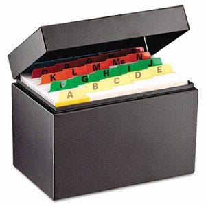 Index Card File, Holds 500 4 x 6 Cards, Black