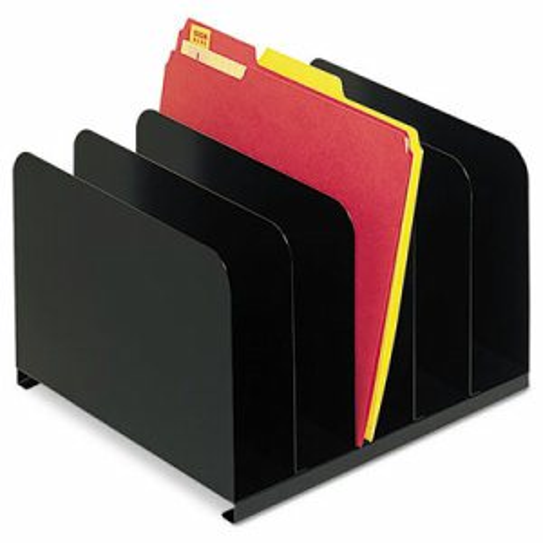 Desktop Vertical Organizer, Five Sections, Steel, 12 x 11 x 8 1/8, Black