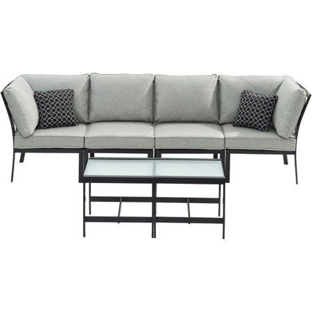 6pc Sectional: Right Corner, Left Corner, 2 Chairs, 2 Tables