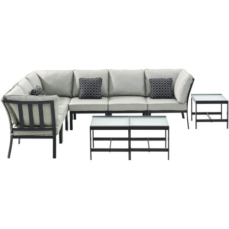 9pc Sectional: 2 Right Corners, 2 Left Corners, 2 Chairs, 3 Tables