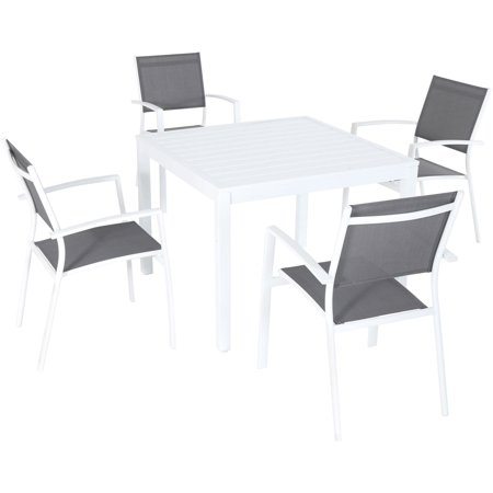 5pc Dining Set: 4 Aluminum Chairs and 1 Slat Square Table