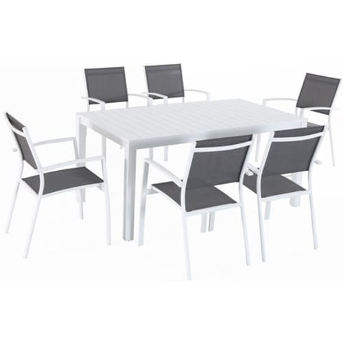 7pc Dining Set: 6 Aluminum Chairs and 1 Slat Rectangle Table