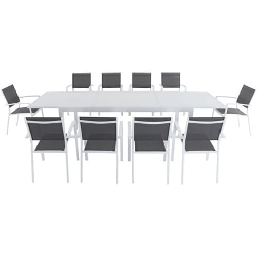 11pc Dining Set: 10 Aluminum Chairs and 1 Extension Table