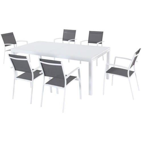 7pc Dining Set: 6 Aluminum Chairs and 1 Extension Table