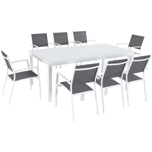 9pc Dining Set: 8 Aluminum Chairs and 1 Extension Table