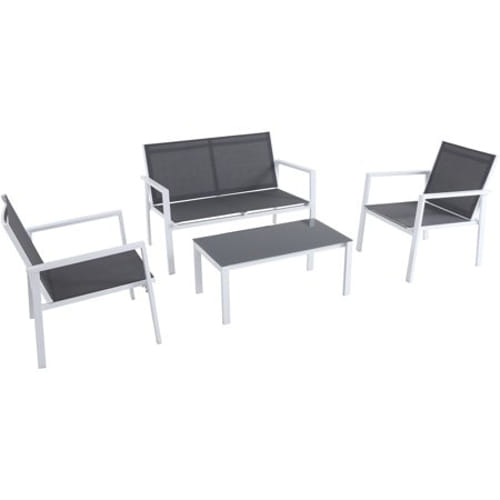4PC Seating Set: Sling Loveseat, 2 Sling Side Chairs, Coffee Table