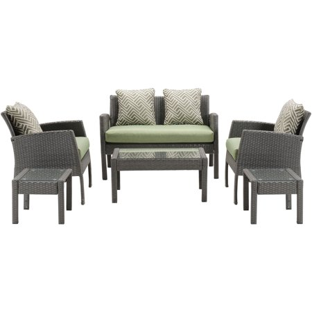 6PC Seating Set: Loveseat, 2 Side Chairs, 2 Side Tables