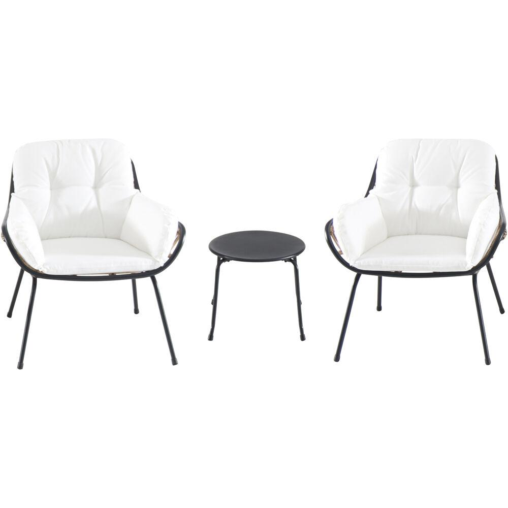 Bali 3pc Seating Set: 2 Steel Side Chairs, Accent Table
