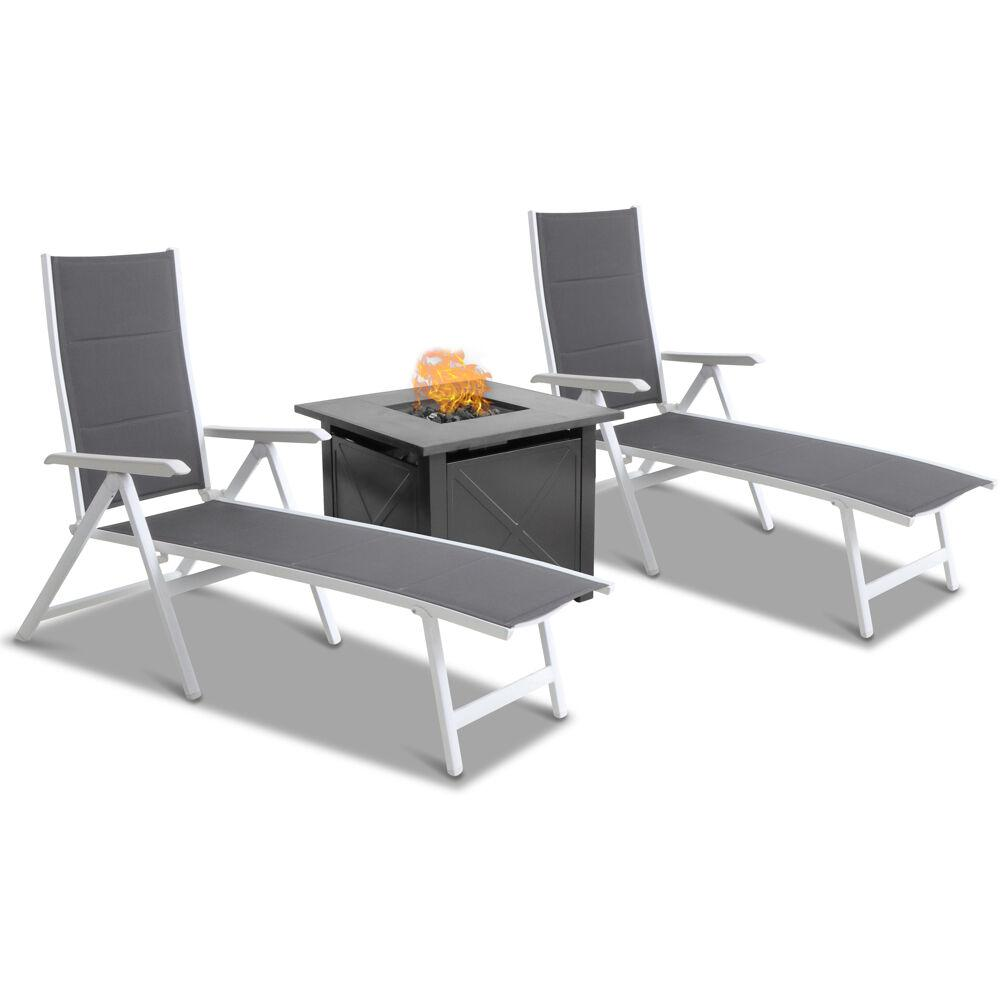Everson 3pc Chaise Set: 2 Folding Chaise Lounges and Tile Top Fire Pit