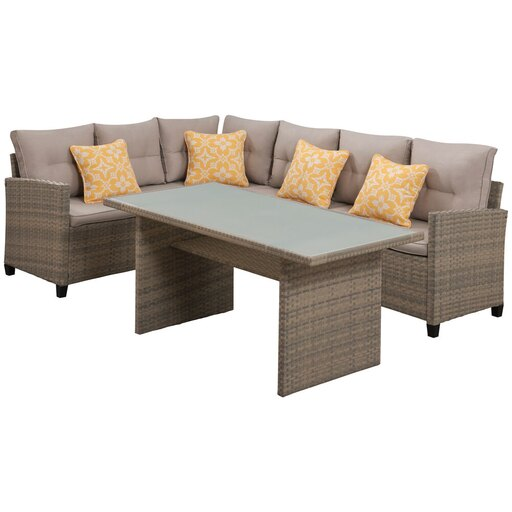 Amelia 3pc Set: Sectional Deep Seating Set with Chow Table