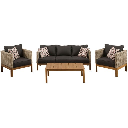 Blake 4pc Set: 2 Side Bucket Chrs, Sofa, and Faux Wood Coffee Table