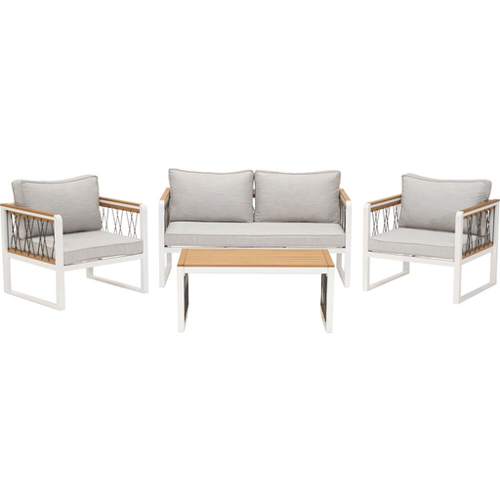 Hampton 4pc Set: 2 Rope Chairs, Loveseat, Faux Wood Top Coffee Tbl