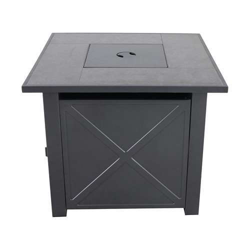 Harper Steel Gas Fire Pit with Tile Top and Light Grey Lava Rocks