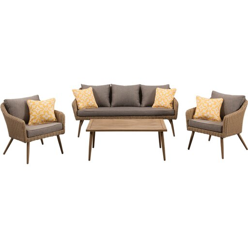 Jaden 4pc Set: 2 Side Chairs, Sofa, and Faux Wood Coffee Table