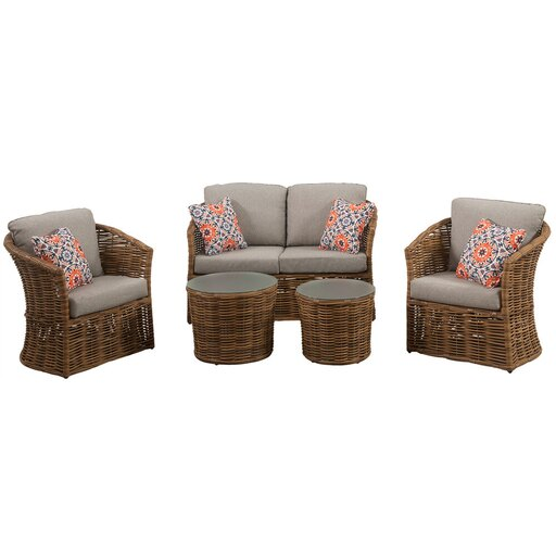 Lexi 5pc Set: 2 Stationary Chairs, Loveseat, and 2 Woven Glass Top Tbls