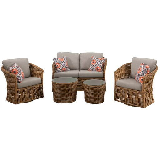 Lexi 5pc Set: 2 Swivel Chairs, Loveseat, and 2 Woven Glass Top Tbls