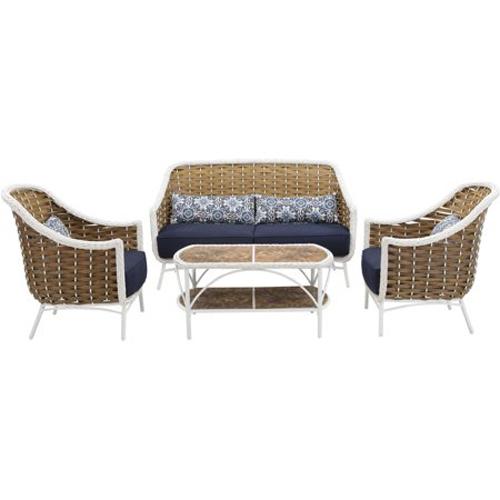 Seaside 4pc Set: 2 Tan/White Side Chairs, Loveseat, Tile-Top Coffee Tbl