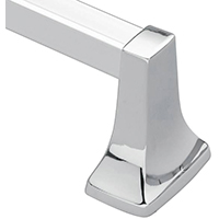 Moen Donner Contemporary Square Towel Bar, 30 lb, 25-3/4 in L X 3 in H, Zinc Bar Post, Aluminum Bar, Polished Chrome