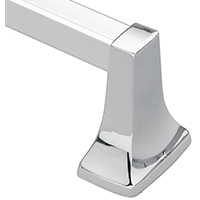 Moen Donner Contemporary Square Towel Bar, 30 lb, 31-3/4 in L X 3 in H, Zinc Bar Post, Aluminum Bar, Polished Chrome