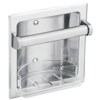 Donner Donner Commercial Soap Holder With Clear Removable Tray, 6-1/4 in W X 6-1/4 in H, Die Cast Zinc Alloy