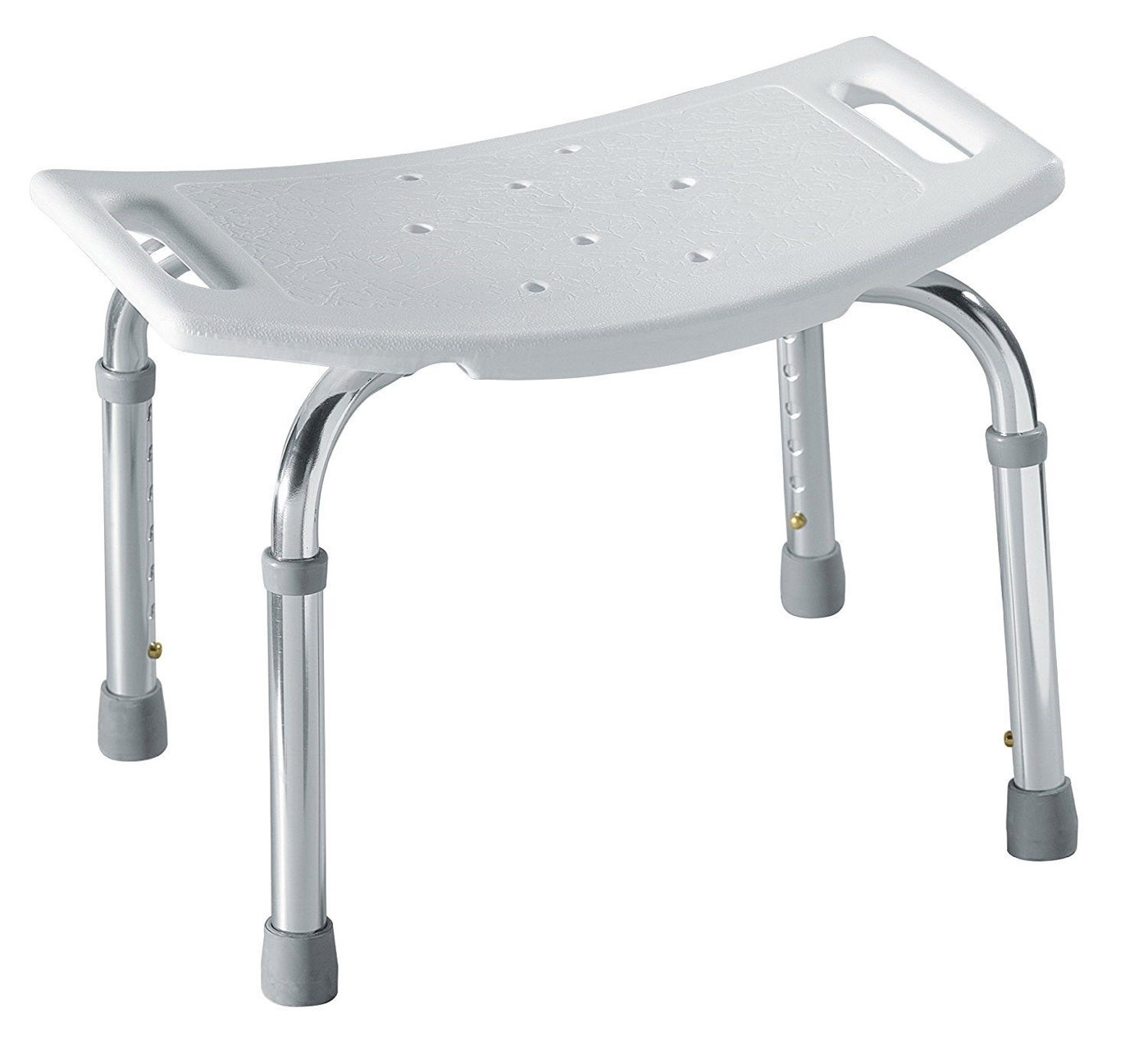 Donner Home Care Adjustable Shower Seat, Stainless Steel, Glacier/White