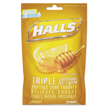 Triple Action Cough Drops, Honey-Lemon, 30/Bag