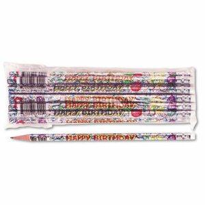 Decorated Pencil, Happy Birthday, #2, Holographic SR Brl, Dozen