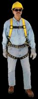 MSA Extra Large Construction Style Workman+ Harness With Qwik-Fit Chest Strap, Tongue Buckle Legs, Back And Hip D Rings And Back