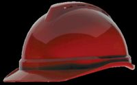 MSA Red V-Gard+ Advance Class C Type I Polyethylene Vented Hard Cap With Fas-Trac+ 6-Point Suspension And Glaregard+ Underbrim