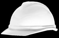 MSA White V-Gard+ Advance Class C Type I Polyethylene Vented Hard Cap With Fas-Trac+ 6-Point Suspension And Glaregard+ Underbrim