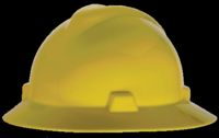 MSA Yellow V-Gard+ Class E, G Type I Polyethylene Non-Slotted Hard Hat With Fas-Trac+ Suspension