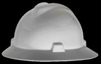 MSA White V-Gard+ Class E, G Type I Polyethylene Non-Slotted Hard Hat With Fas-Trac+ Suspension