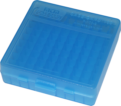 MTM Ammo Box 100 Round Flip-Top 9mm 380 ACP Clear Blue