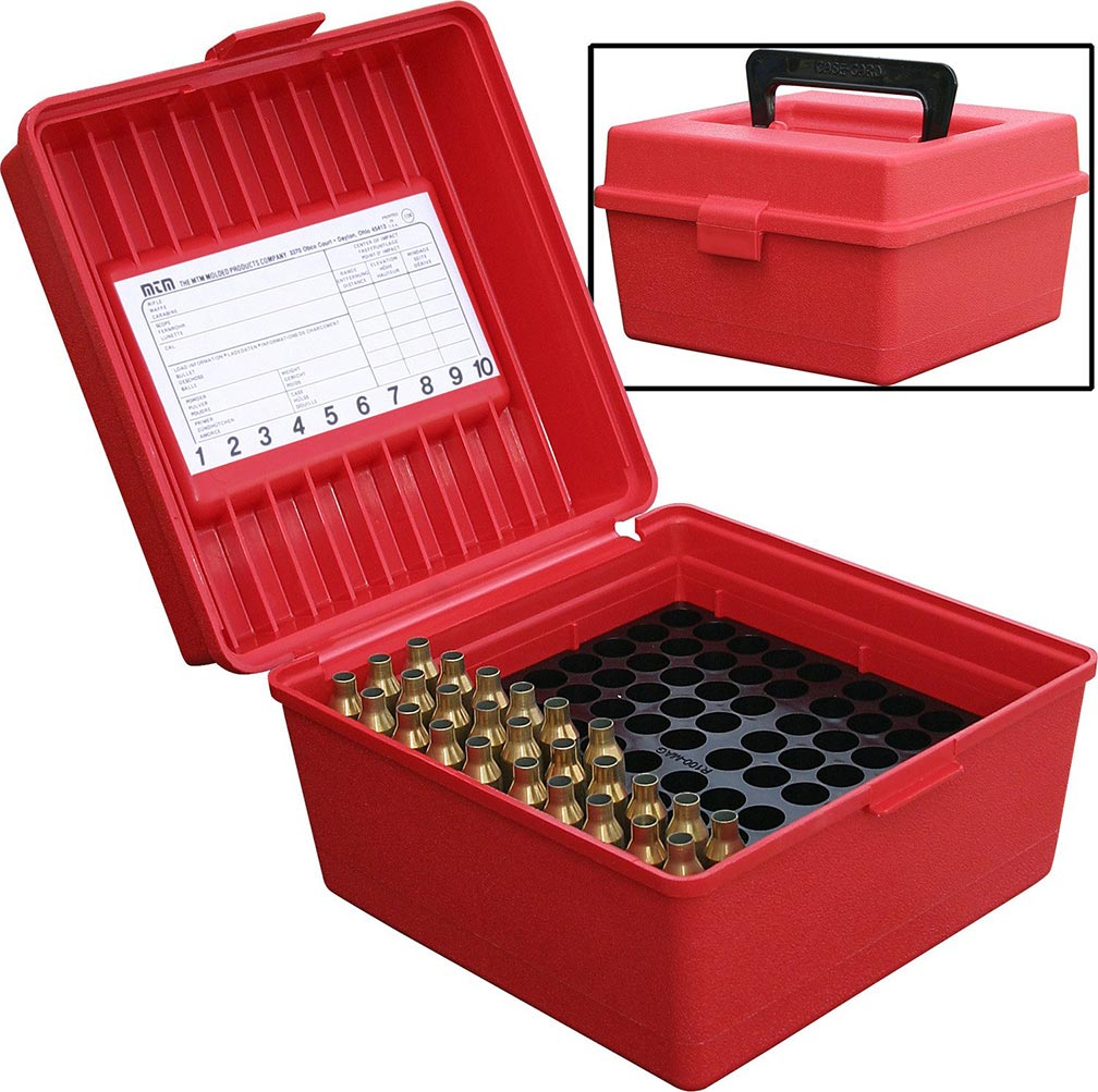 MTM Deluxe Ammo Box 100 Round Handle WSM WSSM Ultra Mag Red