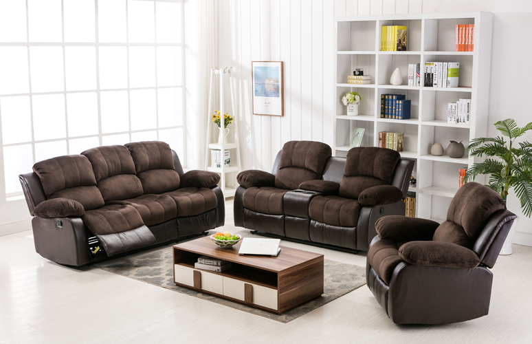 Camilla Recliner Sofa in Two-Tone Chocolate & Brown