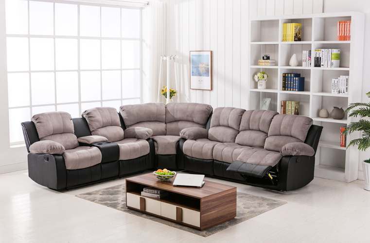Camilla Recliner Sofa in Two-Tone Two-Tone Gray & Black
