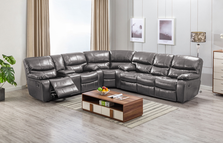 Banner Gray Leather Gel Sectional