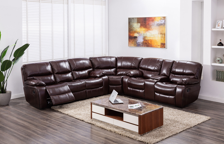 Banner Brown Leather Gel Sectional